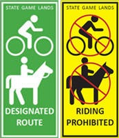 Designated Routes for Horses and Bicycles sign