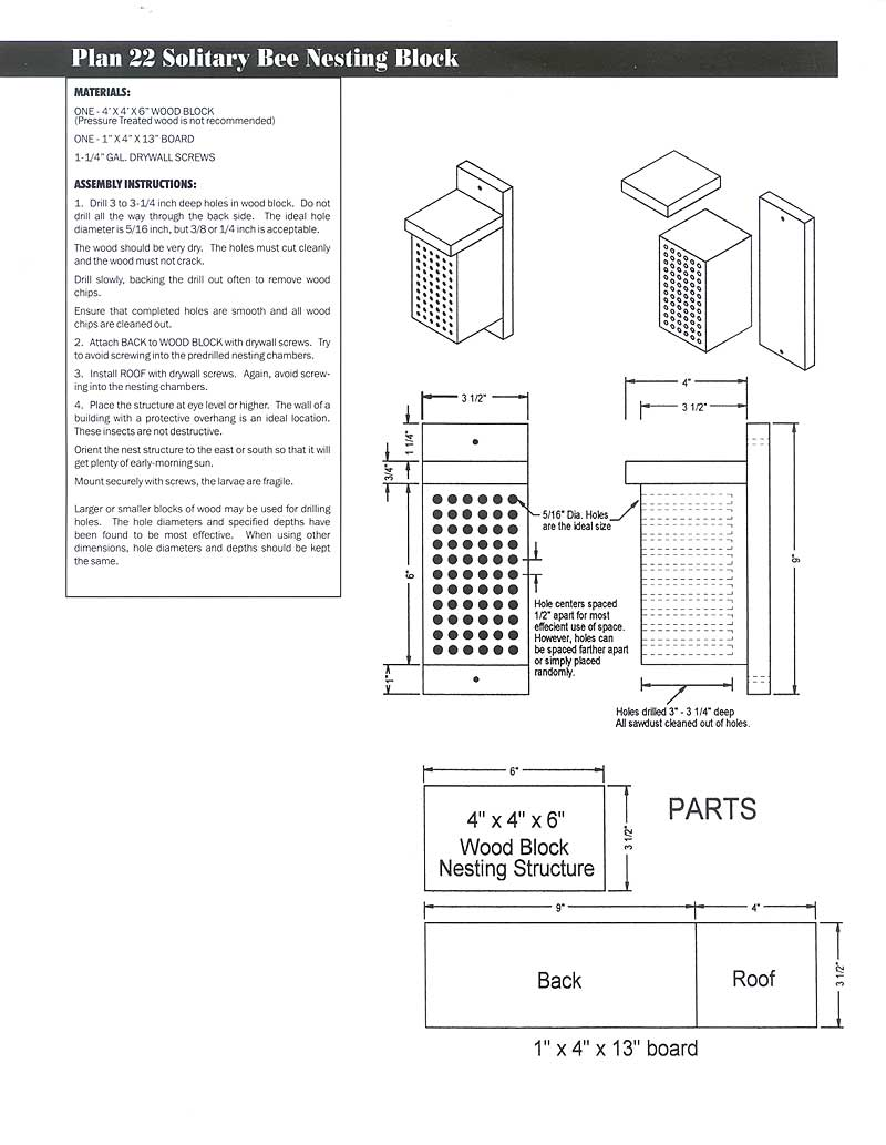 Wildlife Home Plans Deer Feeders Square Box Free Download Wiring Diagrams Pictures Plan 22 Solitary Bee Nesting Block Image