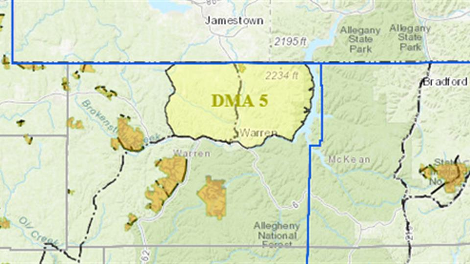 Map of northwestern Pennsylvania with outline of DMA 5 in Warren County