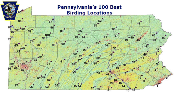 Pennsylvania's 100 Best Birding Locations map image
